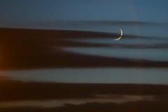 在日落的月亮 免版税库存图片
