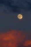 在日落的月出 库存图片