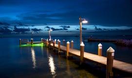 在日落的木码头 图库摄影