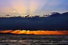 在日落的架子云彩 免版税库存图片