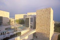在日落的格蒂中心,布伦特伍德,加利福尼亚 图库摄影