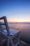 在日落的椅子在早晨 库存图片