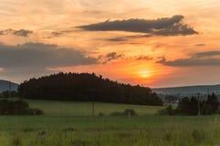 在日落的横向 库存照片