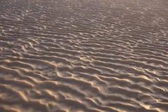 在日落的沙子波纹 库存图片