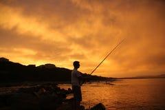 在日落的海岸 图库摄影