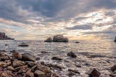 在日落的海景 免版税库存图片