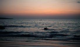 在日落的海景 免版税库存照片