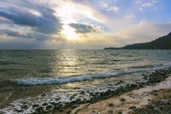 在日落的海景 库存照片