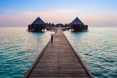 在日落的海洋 Angaga 库存照片