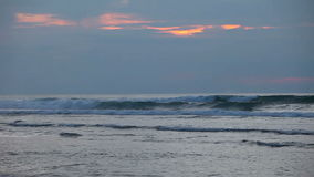 在日落的海浪与冲浪者 股票录像
