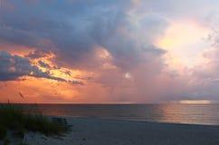 在日落的海湾墨西哥 库存照片