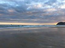 在日落的海滩 库存照片