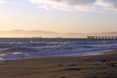 在日落的海滩hermosa 免版税库存图片