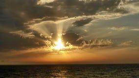 在日落的海视图在特拉维夫 库存照片