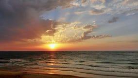 在日落的海视图在特拉维夫 免版税库存图片