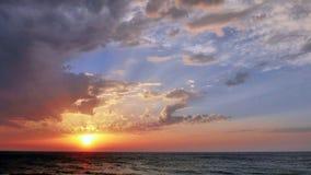 在日落的海视图在特拉维夫 库存图片