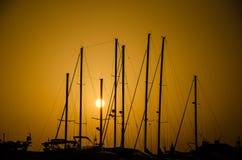 在日落的海滨广场 免版税库存照片