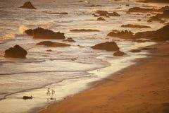 在日落的海滩,圣西梅昂 免版税图库摄影