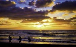 在日落的海滩, Del Mar,加利福尼亚 免版税库存图片