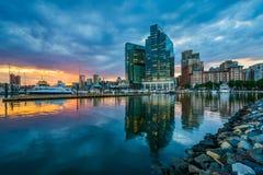 在日落的港口东部在巴尔的摩,马里兰 免版税库存照片