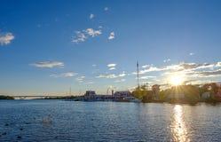 在日落的港口 库存图片