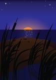 在日落的湖 库存例证