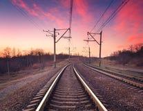 在日落的火车平台 铁路 火车站 库存照片