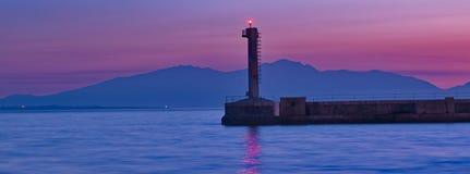 在日落的灯塔 图库摄影