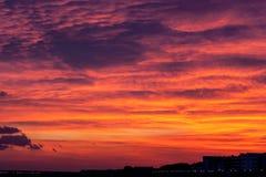 在日落的灼烧的天空 免版税库存照片