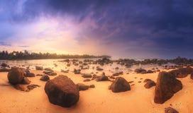 在日落的热带海滩 库存图片