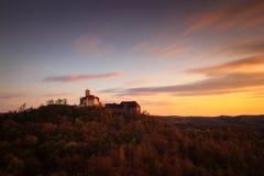 在日落的瓦尔特堡城堡 图库摄影
