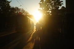 在日落的电车 库存图片