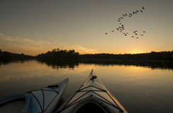在日落的皮船与鹅飞行 免版税库存照片