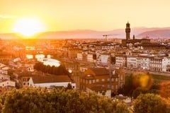 在日落的看法对市从米开朗基罗广场的佛罗伦萨 库存图片