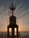 在日落的码头光 图库摄影