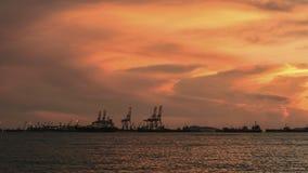 在日落的码头 库存照片
