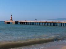在日落的码头 免版税库存图片