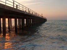 在日落的码头 免版税图库摄影
