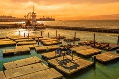 在日落的码头39 免版税库存图片