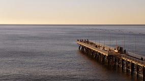 在日落的码头 免版税库存照片