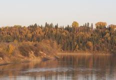 在日落的秋天颜色在北部萨斯喀彻温省河 免版税库存图片