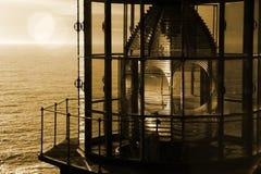 在日落的红外灯塔光 免版税图库摄影