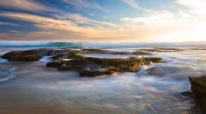 在日落的约翰娜海滩 库存照片