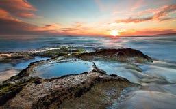 在日落的约翰娜海滩 免版税库存照片