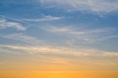 在日落的美丽的天空 库存照片