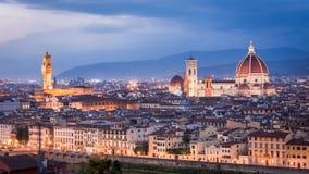 在日落的美丽的景色在圣玛丽亚del菲奥雷 库存图片