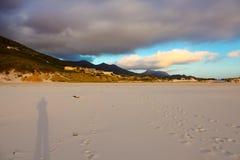 在日落的美丽的沙滩在开普敦 免版税库存图片