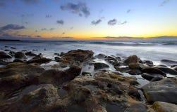 在日落的美丽的海洋 免版税库存图片