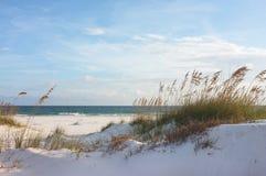 在日落的美丽的海滩和沙丘 图库摄影