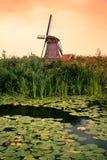 在日落的美丽的荷兰风车从荷兰 图库摄影